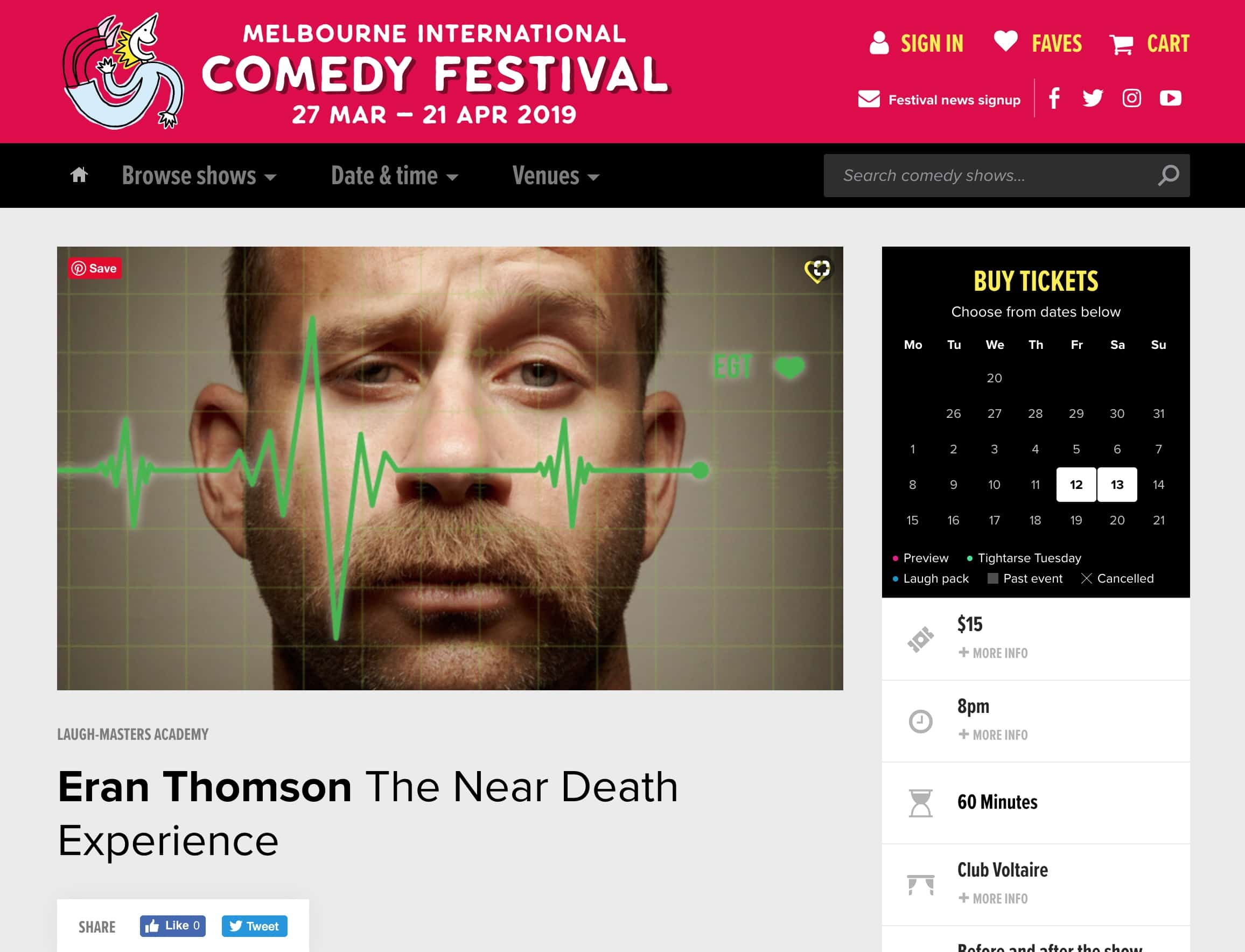 Eran Thomson at the Melbourne International Comedy Festival - The Near Death Experience